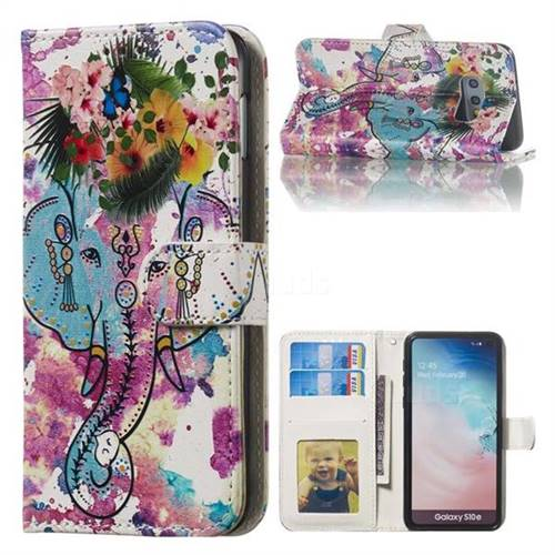 Flower Elephant 3D Relief Oil PU Leather Wallet Case for Samsung Galaxy S10e (5.8 inch)