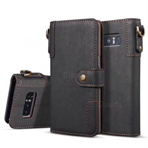 Retro Luxury Cowhide Leather Wallet Case for Samsung Galaxy S10e (5.8 inch) - Black