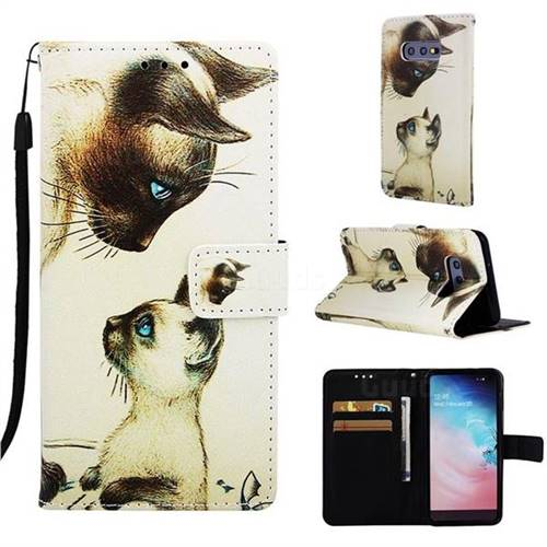 Cat Confrontation Matte Leather Wallet Phone Case for Samsung Galaxy S10e (5.8 inch)