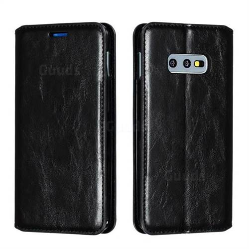 Retro Slim Magnetic Crazy Horse PU Leather Wallet Case for Samsung Galaxy S10e (5.8 inch) - Black