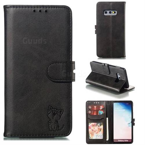 Embossing Happy Cat Leather Wallet Case for Samsung Galaxy S10e (5.8 inch) - Black