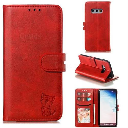 Embossing Happy Cat Leather Wallet Case for Samsung Galaxy S10e (5.8 inch) - Red