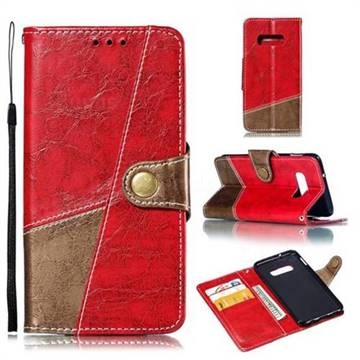 Retro Magnetic Stitching Wallet Flip Cover for Samsung Galaxy S10e (5.8 inch) - Rose Red