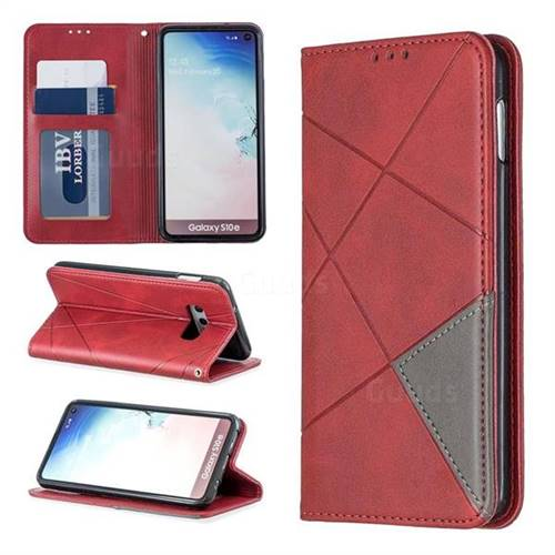 Prismatic Slim Magnetic Sucking Stitching Wallet Flip Cover for Samsung Galaxy S10e (5.8 inch) - Red