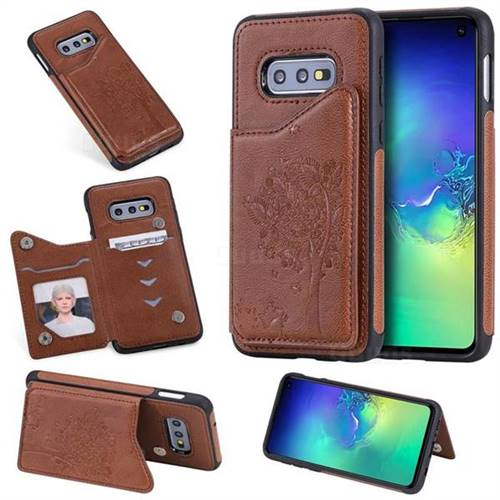 Luxury Tree and Cat Multifunction Magnetic Card Slots Stand Leather Phone Back Cover for Samsung Galaxy S10e (5.8 inch) - Brown