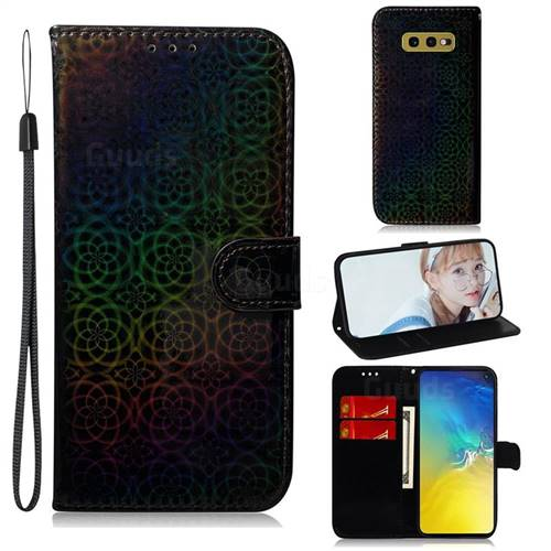 Laser Circle Shining Leather Wallet Phone Case for Samsung Galaxy S10e (5.8 inch) - Black