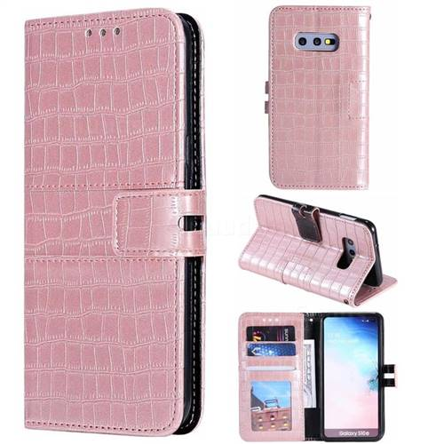 Luxury Crocodile Magnetic Leather Wallet Phone Case for Samsung Galaxy S10e (5.8 inch) - Rose Gold