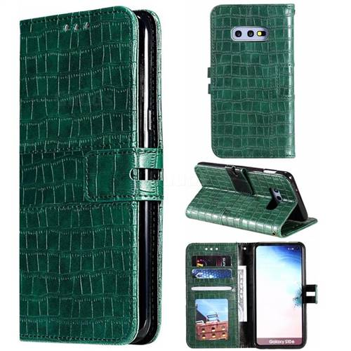 Luxury Crocodile Magnetic Leather Wallet Phone Case for Samsung Galaxy S10e (5.8 inch) - Green