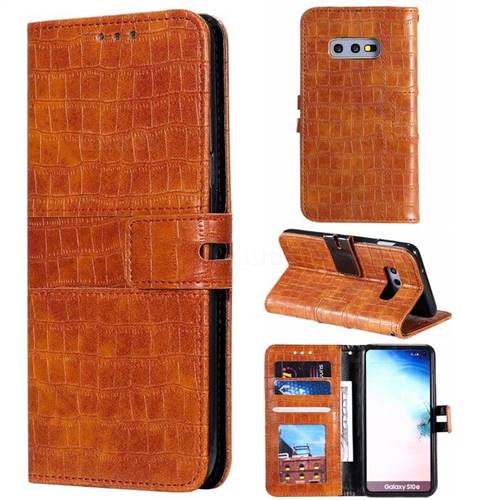 Luxury Crocodile Magnetic Leather Wallet Phone Case for Samsung Galaxy S10e (5.8 inch) - Brown