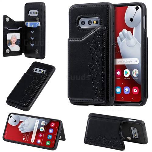 Yikatu Luxury Cute Cats Multifunction Magnetic Card Slots Stand Leather Back Cover for Samsung Galaxy S10e (5.8 inch) - Black