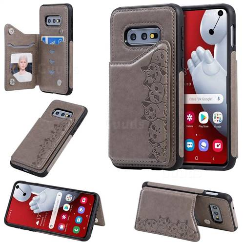 Yikatu Luxury Cute Cats Multifunction Magnetic Card Slots Stand Leather Back Cover for Samsung Galaxy S10e (5.8 inch) - Gray
