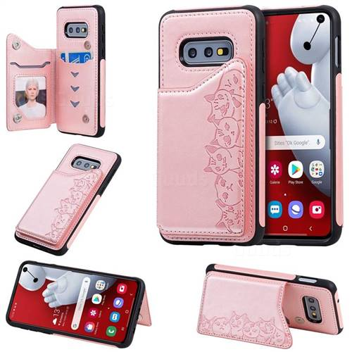 Yikatu Luxury Cute Cats Multifunction Magnetic Card Slots Stand Leather Back Cover for Samsung Galaxy S10e (5.8 inch) - Rose Gold