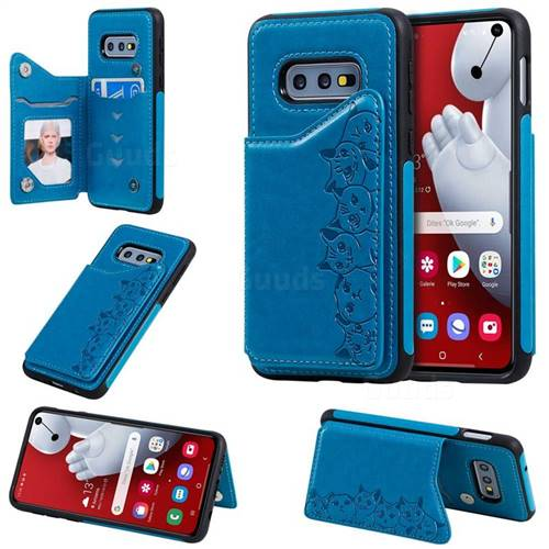 Yikatu Luxury Cute Cats Multifunction Magnetic Card Slots Stand Leather Back Cover for Samsung Galaxy S10e (5.8 inch) - Blue