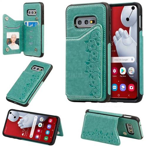 Yikatu Luxury Cute Cats Multifunction Magnetic Card Slots Stand Leather Back Cover for Samsung Galaxy S10e (5.8 inch) - Green