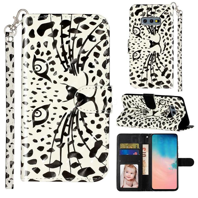Leopard Panther 3D Leather Phone Holster Wallet Case for Samsung Galaxy S10e (5.8 inch)