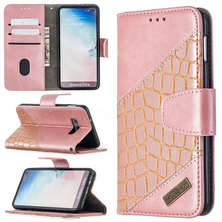BinfenColor BF04 Color Block Stitching Crocodile Leather Case Cover for Samsung Galaxy S10e (5.8 inch) - Rose Gold
