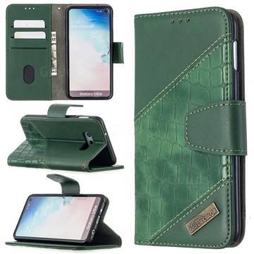 BinfenColor BF04 Color Block Stitching Crocodile Leather Case Cover for Samsung Galaxy S10e (5.8 inch) - Green