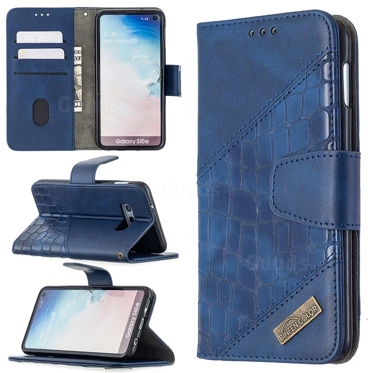 BinfenColor BF04 Color Block Stitching Crocodile Leather Case Cover for Samsung Galaxy S10e (5.8 inch) - Blue