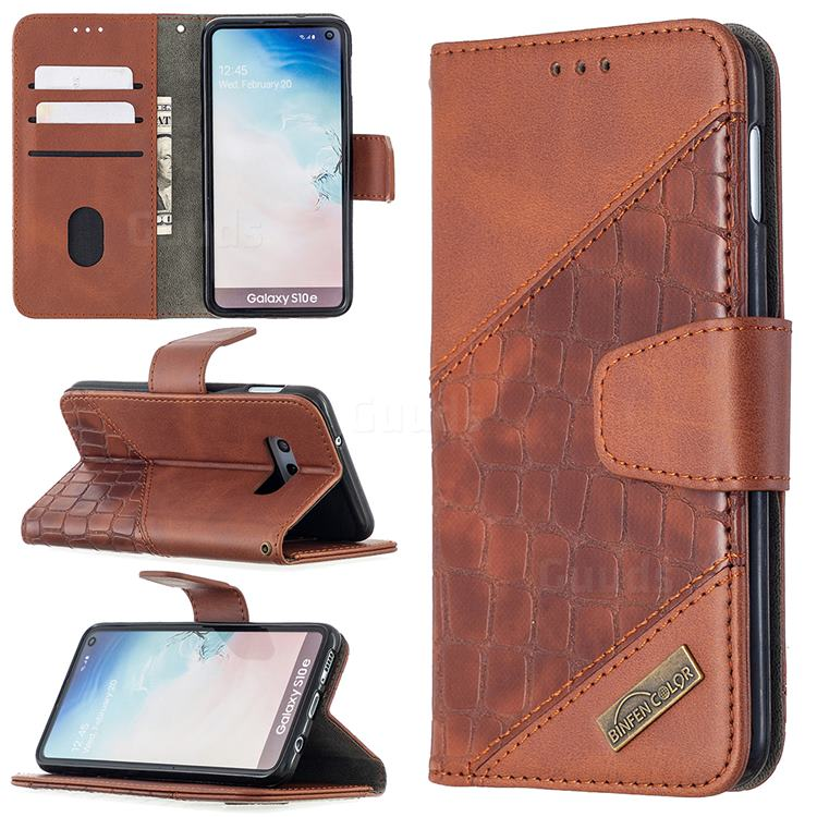 BinfenColor BF04 Color Block Stitching Crocodile Leather Case Cover for Samsung Galaxy S10e (5.8 inch) - Brown