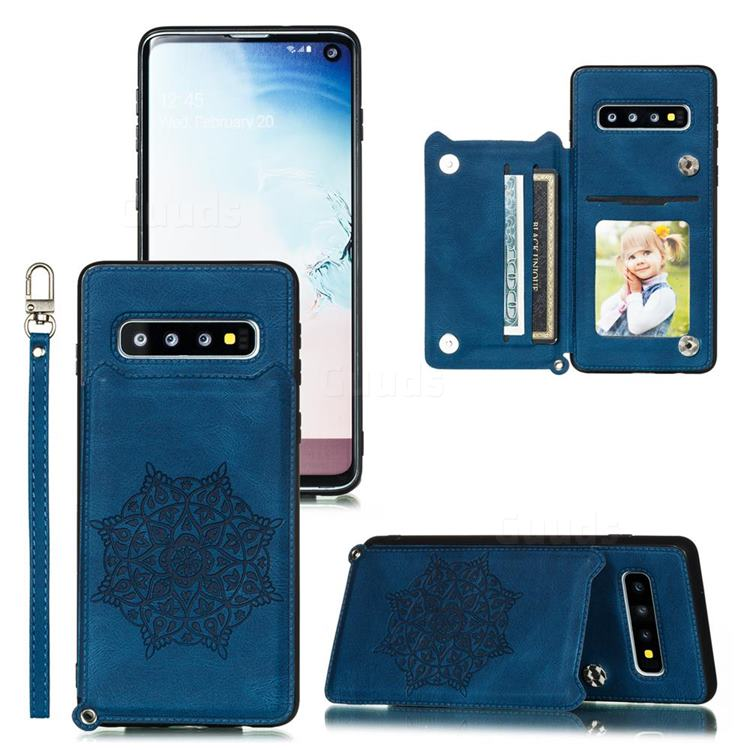 Luxury Mandala Multi-function Magnetic Card Slots Stand Leather Back Cover for Samsung Galaxy S10e (5.8 inch) - Blue