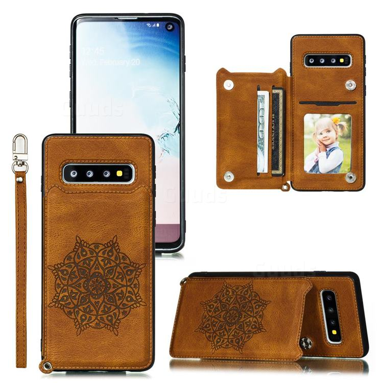 Luxury Mandala Multi-function Magnetic Card Slots Stand Leather Back Cover for Samsung Galaxy S10e (5.8 inch) - Brown