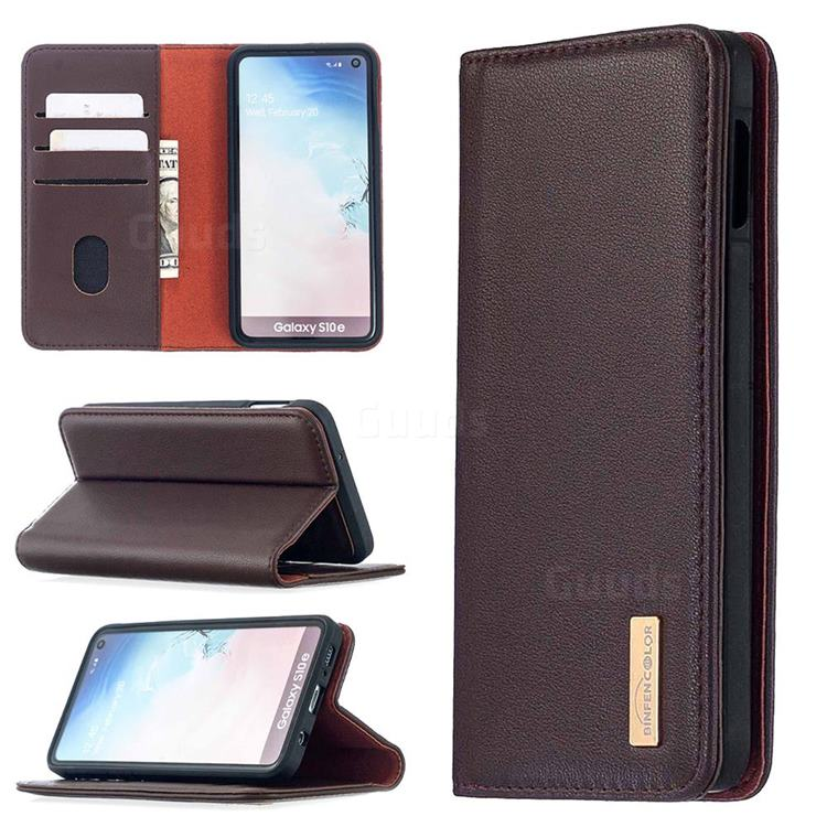 Binfen Color BF06 Luxury Classic Genuine Leather Detachable Magnet Holster Cover for Samsung Galaxy S10e (5.8 inch) - Dark Brown