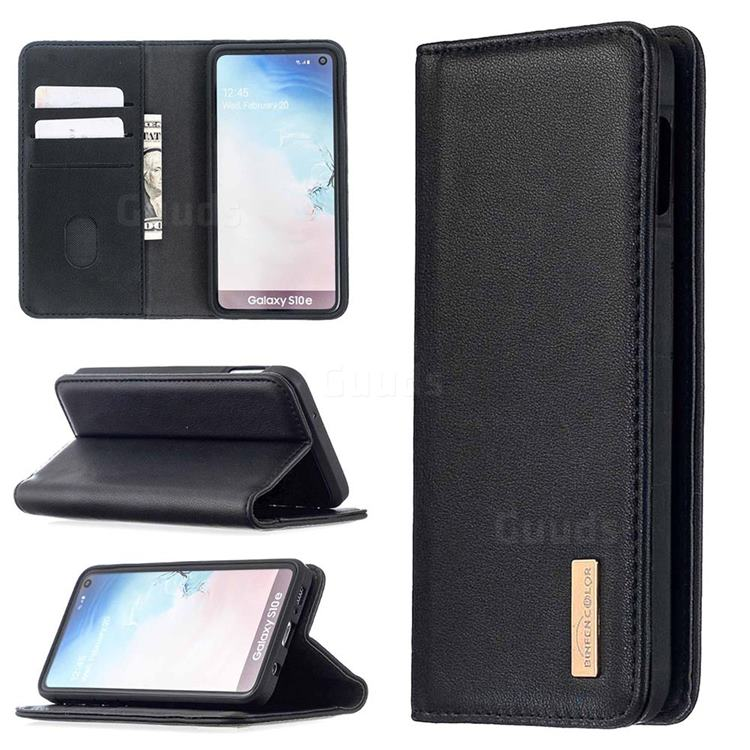 Binfen Color BF06 Luxury Classic Genuine Leather Detachable Magnet Holster Cover for Samsung Galaxy S10e (5.8 inch) - Black
