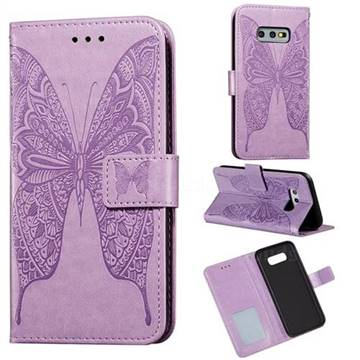 Intricate Embossing Vivid Butterfly Leather Wallet Case for Samsung Galaxy S10e (5.8 inch) - Purple