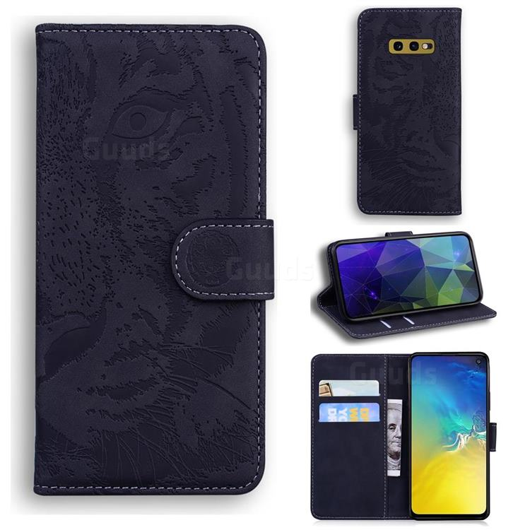 Intricate Embossing Tiger Face Leather Wallet Case for Samsung Galaxy S10e (5.8 inch) - Black