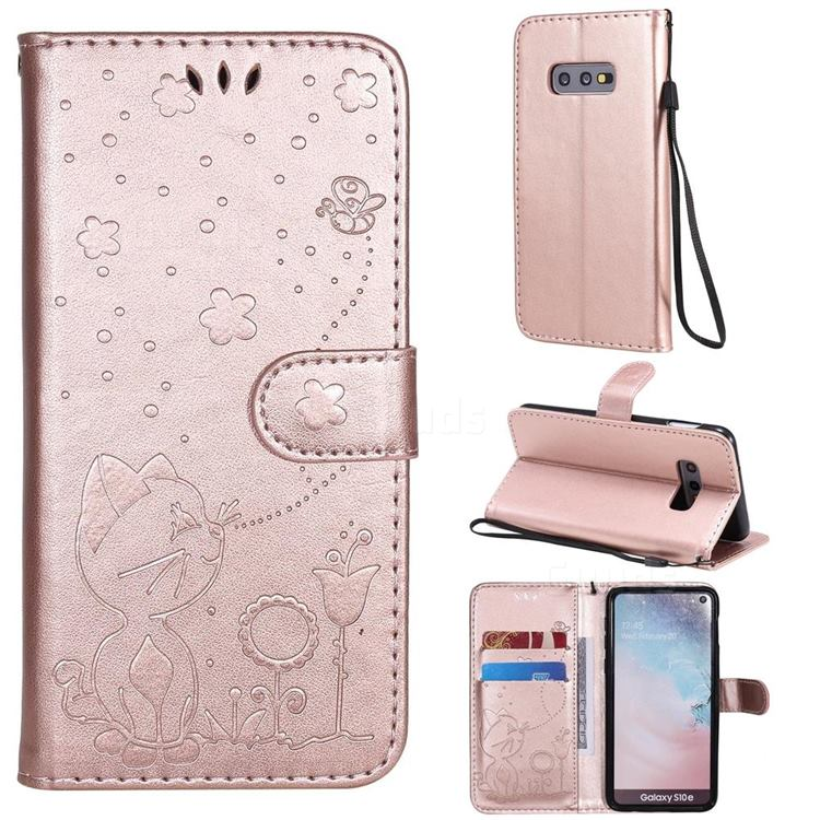 Embossing Bee and Cat Leather Wallet Case for Samsung Galaxy S10e (5.8 inch) - Rose Gold