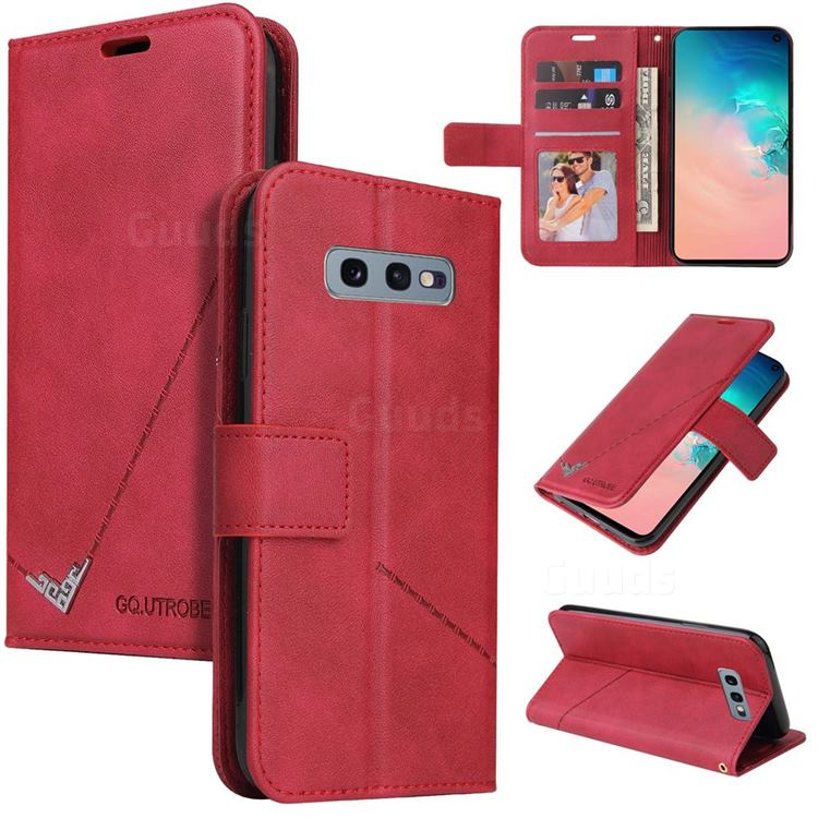 GQ.UTROBE Right Angle Silver Pendant Leather Wallet Phone Case for Samsung Galaxy S10e (5.8 inch) - Red