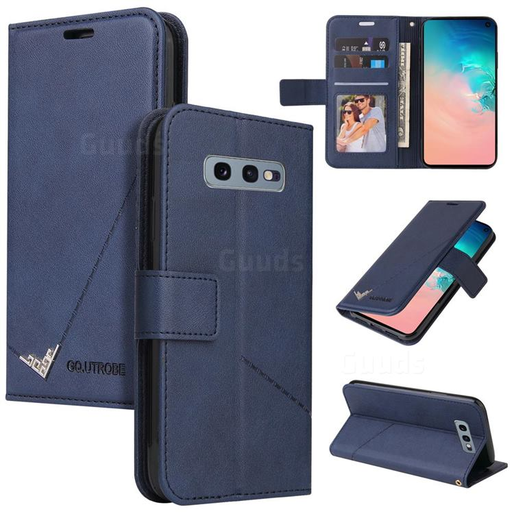 GQ.UTROBE Right Angle Silver Pendant Leather Wallet Phone Case for Samsung Galaxy S10e (5.8 inch) - Blue