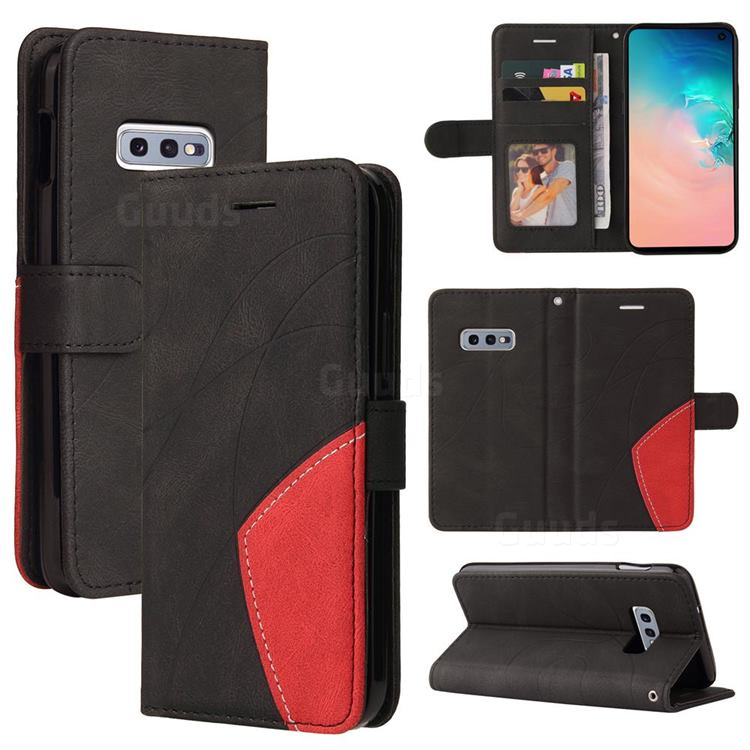 Luxury Two-color Stitching Leather Wallet Case Cover for Samsung Galaxy S10e (5.8 inch) - Black