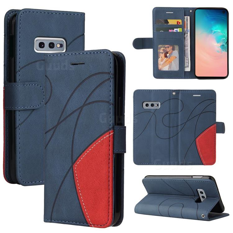 Luxury Two-color Stitching Leather Wallet Case Cover for Samsung Galaxy S10e (5.8 inch) - Blue