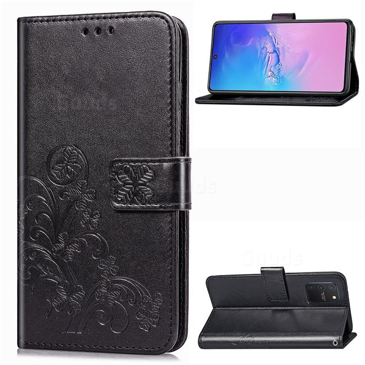 Embossing Imprint Four-Leaf Clover Leather Wallet Case for Samsung Galaxy S10 Lite(6.7 inch) - Black