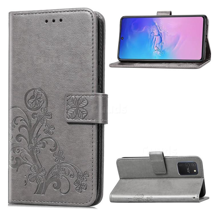 Embossing Imprint Four-Leaf Clover Leather Wallet Case for Samsung Galaxy S10 Lite(6.7 inch) - Grey