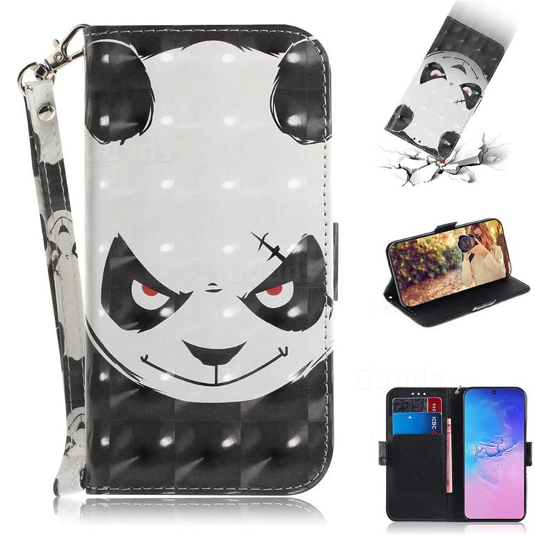 Angry Bear 3D Painted Leather Wallet Phone Case for Samsung Galaxy S10 Lite(6.7 inch)