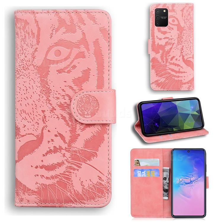 Intricate Embossing Tiger Face Leather Wallet Case for Samsung Galaxy S10 Lite(6.7 inch) - Pink