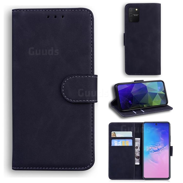 Retro Classic Skin Feel Leather Wallet Phone Case for Samsung Galaxy S10 Lite(6.7 inch) - Black