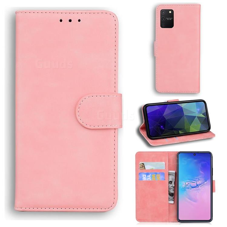 Retro Classic Skin Feel Leather Wallet Phone Case for Samsung Galaxy S10 Lite(6.7 inch) - Pink