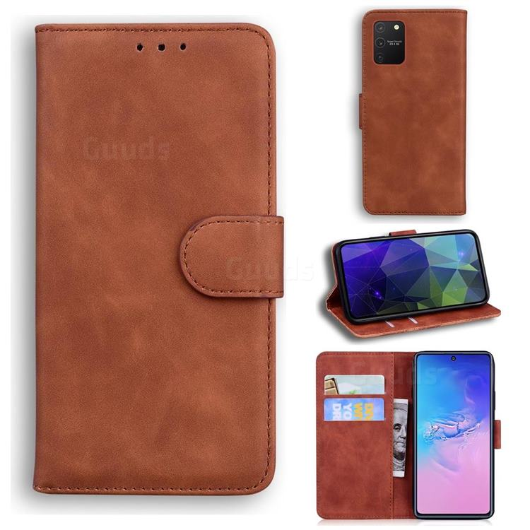 Retro Classic Skin Feel Leather Wallet Phone Case for Samsung Galaxy S10 Lite(6.7 inch) - Brown