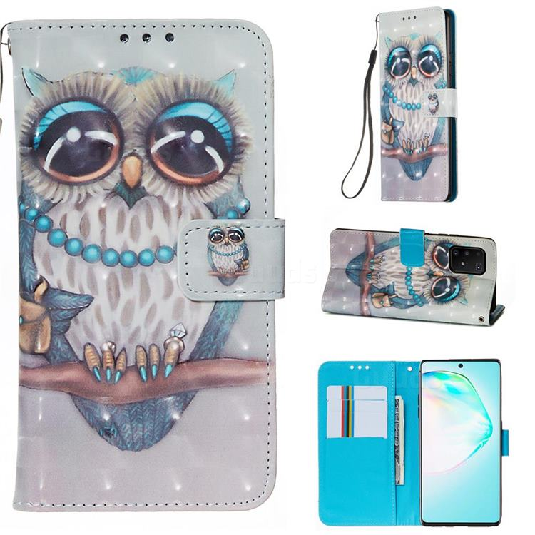 Sweet Gray Owl 3D Painted Leather Wallet Case for Samsung Galaxy S10 Lite(6.7 inch)