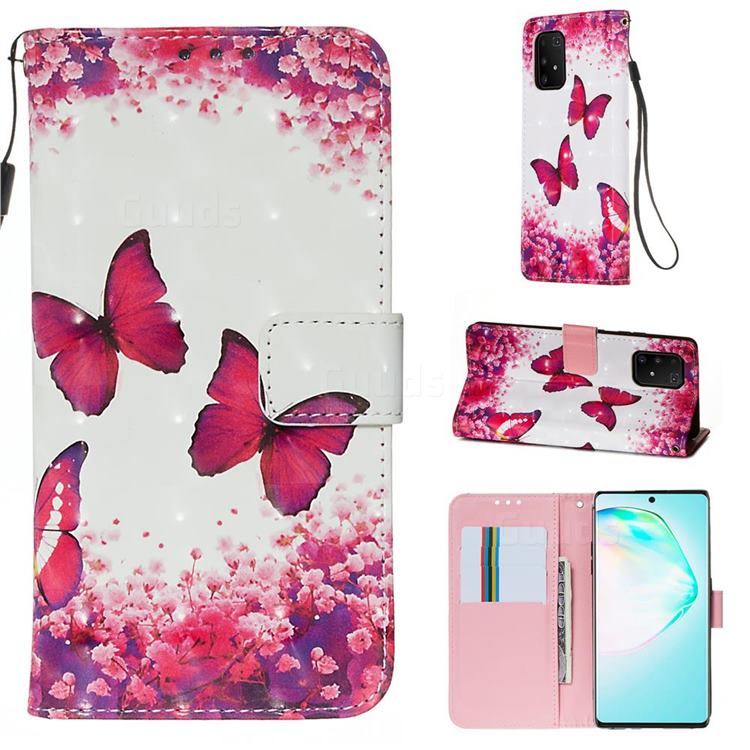 Rose Butterfly 3D Painted Leather Wallet Case for Samsung Galaxy S10 Lite(6.7 inch)