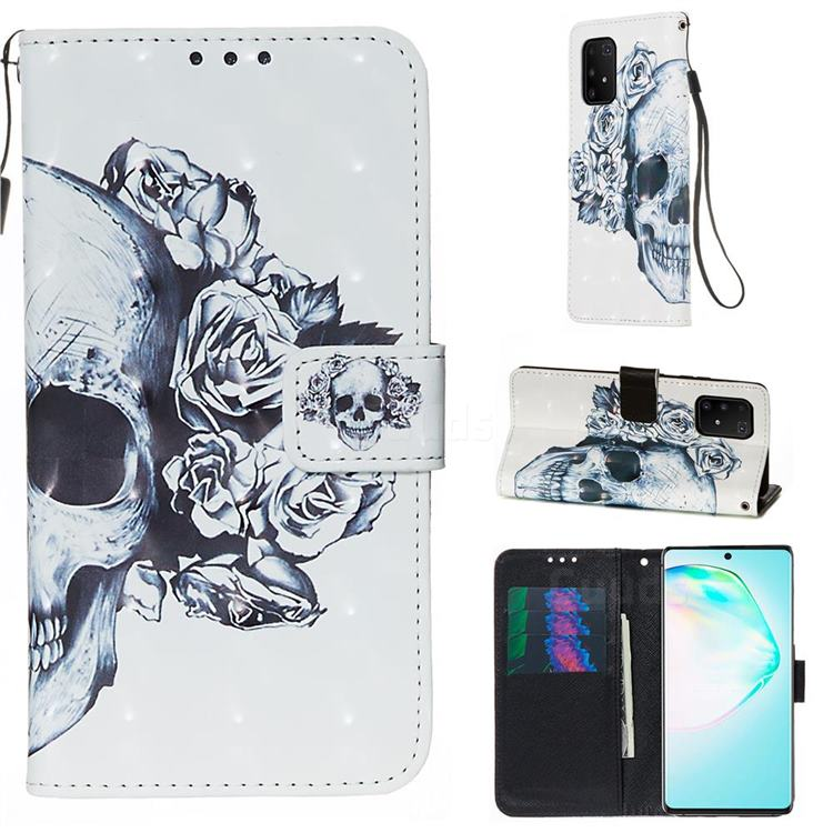 Skull Flower 3D Painted Leather Wallet Case for Samsung Galaxy S10 Lite(6.7 inch)