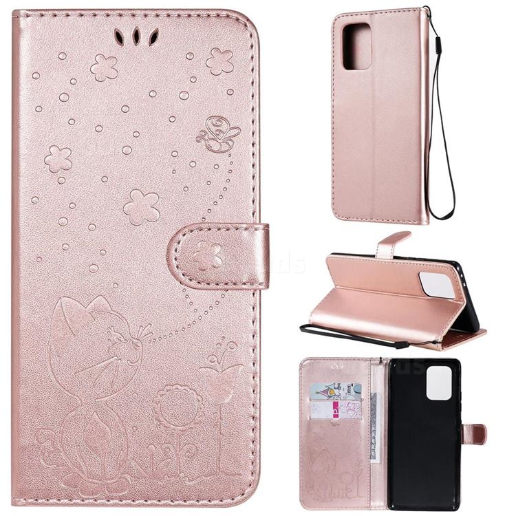 Embossing Bee and Cat Leather Wallet Case for Samsung Galaxy S10 Lite(6.7 inch) - Rose Gold