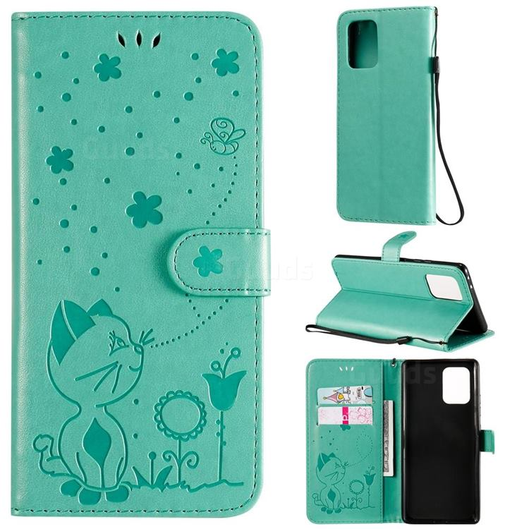 Embossing Bee and Cat Leather Wallet Case for Samsung Galaxy S10 Lite(6.7 inch) - Green