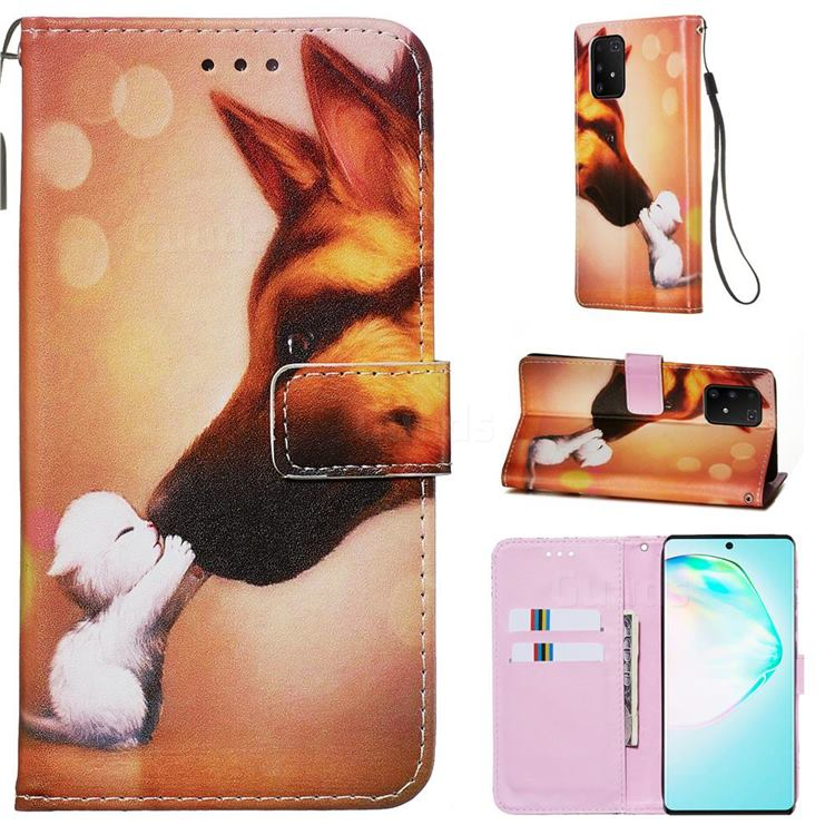 Hound Kiss Matte Leather Wallet Phone Case for Samsung Galaxy S10 Lite(6.7 inch)