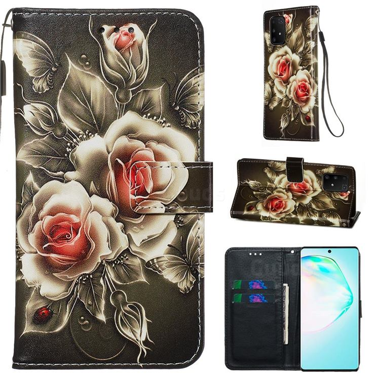 Black Rose Matte Leather Wallet Phone Case for Samsung Galaxy S10 Lite(6.7 inch)