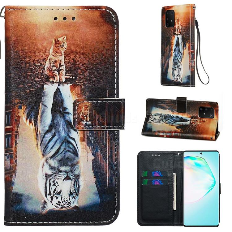 Cat and Tiger Matte Leather Wallet Phone Case for Samsung Galaxy S10 Lite(6.7 inch)