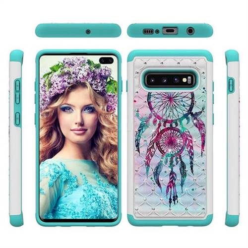 Color Drops Wind Chimes Studded Rhinestone Bling Diamond Shock Absorbing Hybrid Defender Rugged Phone Case Cover for Samsung Galaxy S10 Plus(6.4 inch)